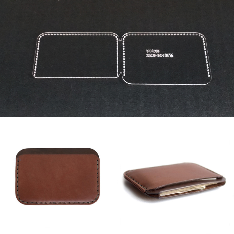 DIY Leather Craft Acrylic Card Coin Purse Pattern Stencil Template Hand Tool Set