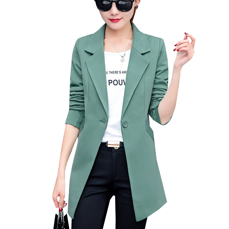 New Autumn Fashion Women Blazer Jacket Slim Fit WorkWear Suit Coat Ladies Casual OL Office Long Blazers Plus Size Outwear SF361 formal wear