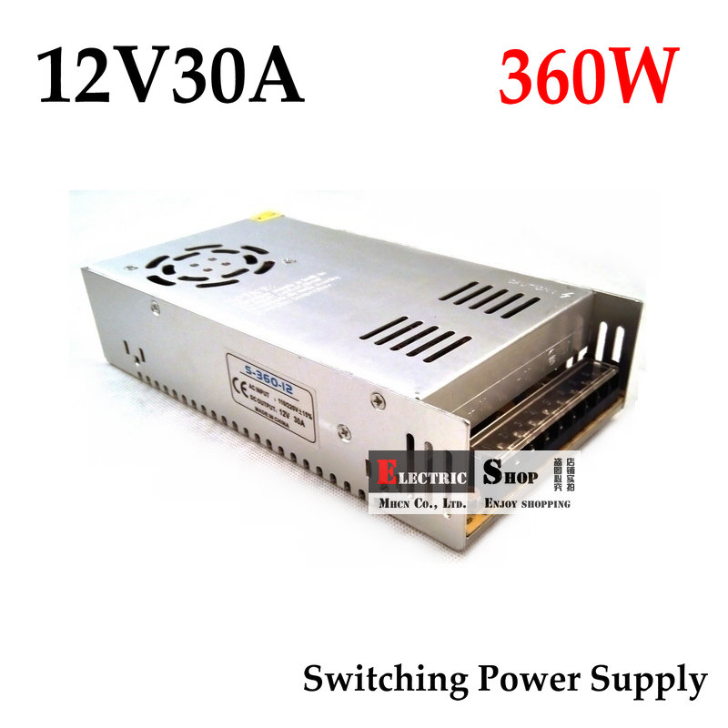 FreeShipping 12VDC 30A 360W Switching Power Supply Driver for Industrial equipment AC 100~240V Input to DC 12V best quality 12v 15a 180w switching power supply driver for led strip ac 100 240v input to dc 12v