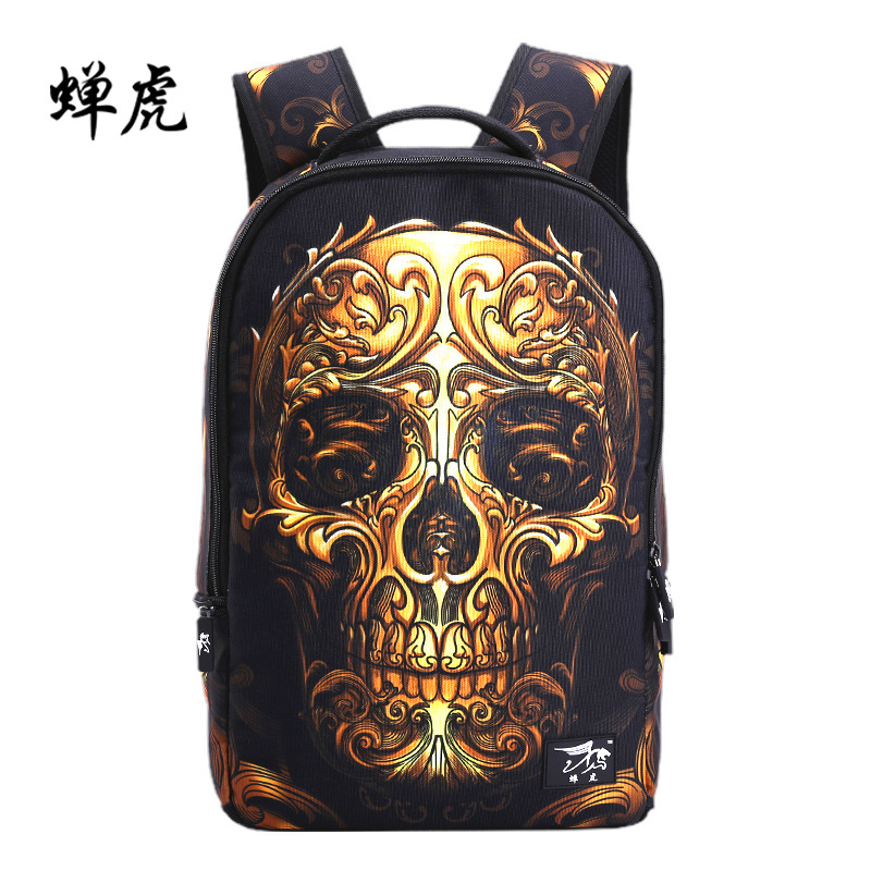 Cool Men's Backpack Skeleton Printing School Bag For Teenager Boys Girls College Student Travel Bag Notebook Computer Back Pack harajuku style ice cream printing backpack high middle school student shoulder bag backpack for teenager girls casual travel bag