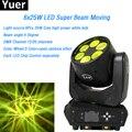 6x25 Вт Светодиодная лампа с движущейся головкой  светодиодная лампа  супер луч 12/20 DMX канал  3 цвета  6 глаз  дискотечный свет для вечеринки  сце...