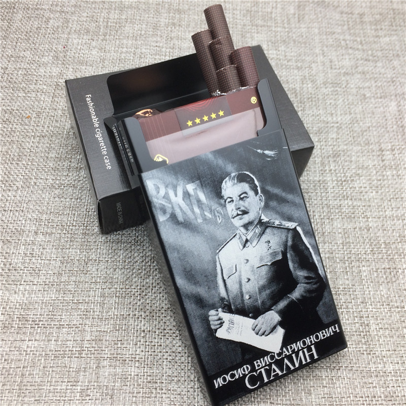 LF058 Personalized Joseph Vissarionovich Stalin Aluminium Alloy Beauty Cigarette Case Laser Carved Will Not Fade Cigarette Boxes