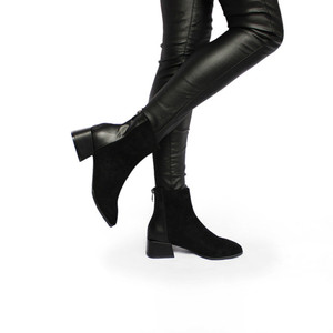 Image 4 - רוני Bouker פו זמש קרסול מגפי נשים עקבים עבה קטיפה נעל אישה שיק נעלי גברת חום שוקולד אתחול ботинки женские