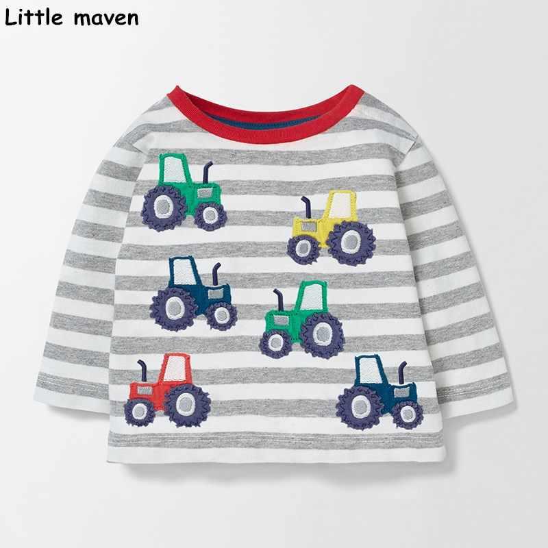 قليلا مخضرم الأطفال العلامة التجارية 2017 الخريف جديد الفتيان الفتيات القطن طويل الأكمام س الرقبة للجنسين مخطط الحيوان سيارة طائرة t قمصان