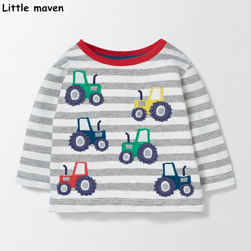 Kis maven gyermek márka 2017 őszi új fiúk lányok pamut hosszú ujjú O-nyak unisex csíkos állati autó sík t-shirt