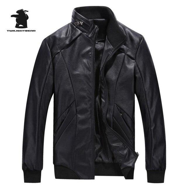 High qualtiy men's leather jacket brand fashion stand collar casual PU leather bomber jacket men biker jacket pull homme C8FGQ65