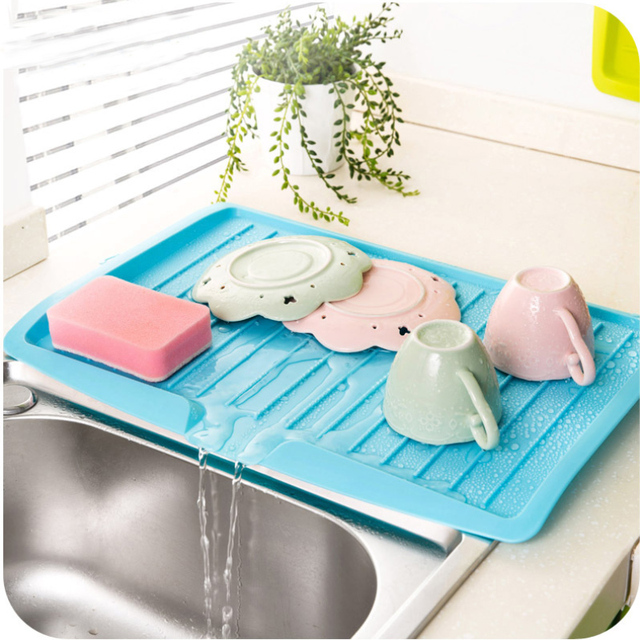 Kitchen Sink Dish Draining Board Tilted Tray With Outlet Plastic ...