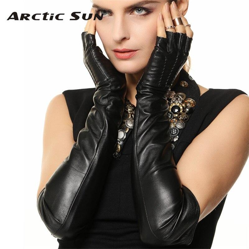 Lady Sheepskin Gloves Winter Fashion Keep Warm Long Style Thin Velvet Lined Semi-Fingers Genuine Leather Gloves Female L140NN