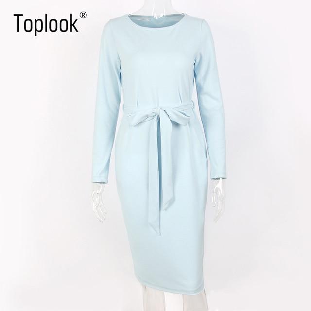 Toplook Bleu Clair Ceinture Femmes Robe Hiver 2017 Nouveau Solide À Manches Longues Mi-mollet Robes Droites O-cou Casual Robes