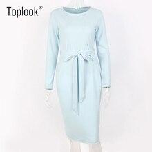 Blue Belt Autumn Dress