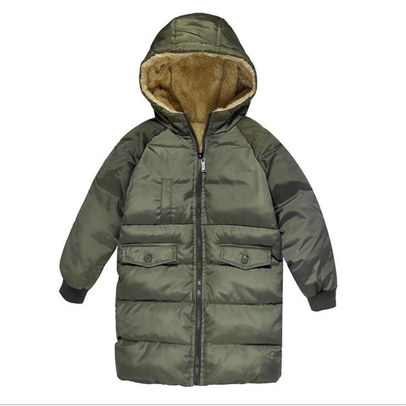 Winter Warm Long Parkas Boys And Girls Thicken Cotton Soft Fleece Winter Coats For Children Casual Loose Hooded Jackets Coat 10T boys fleece jackets solid coat kid clothes winter coats 2017 fashion children clothing
