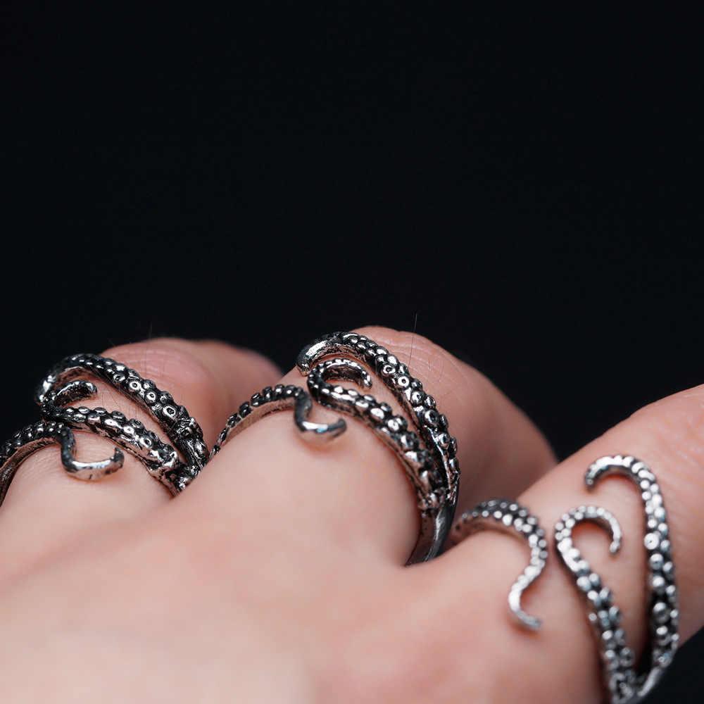 ไทเทเนียมสตีลโกธิค Deep Sea Monster Squid Octopus Finger Tentacles แหวนแฟชั่นเครื่องประดับเปิดปรับขนาดของขวัญ
