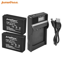 Powtree For Canon 2PCS 7.2V 1800mAh LP-E12 LP E12 LPE12 Camera Battery+LCD USB Charger Replacement EOS Rebel SL1 M10 M50 M100  M powtree for canon 7 2v 1800mah 2pcs lp e12 lp e12 lpe12 digital camera battery replacement eos m50 eos m100 100d kiss x7 rebel