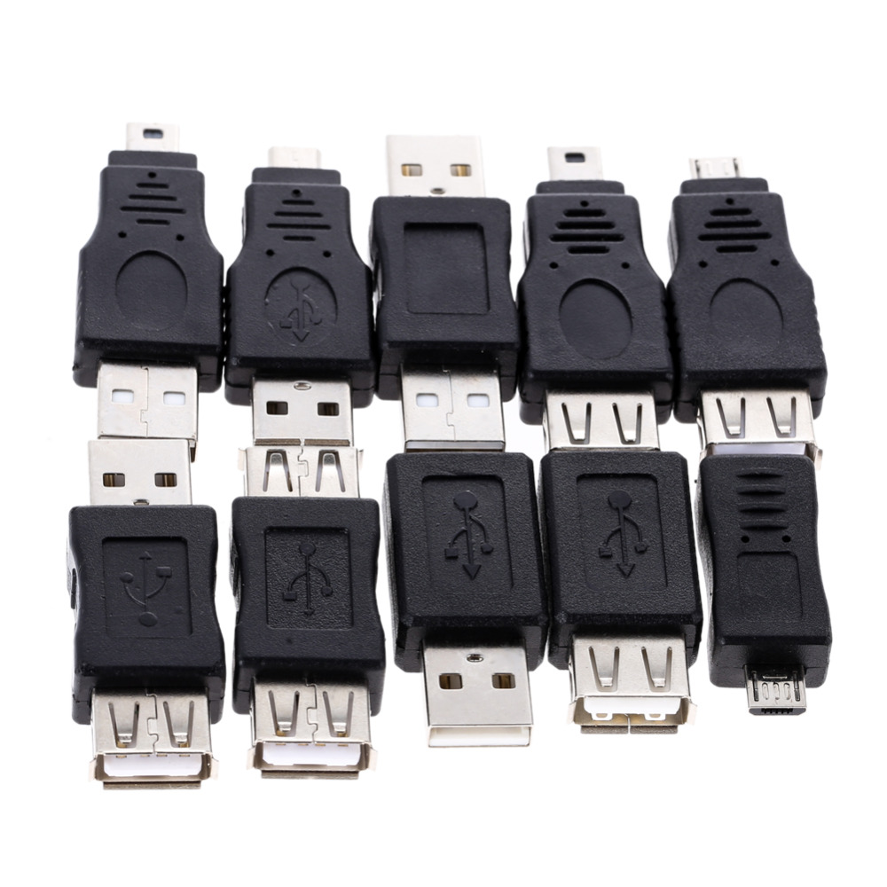 цена на 10pcs OTG 5pin F/M Mini Changer Adapter Converter USB Male to Female Micro USB Adapter Connector Black Wholesale