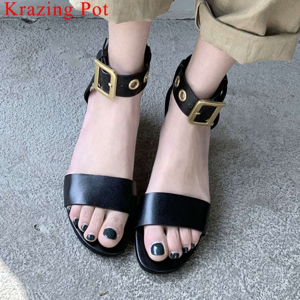 Krazing Pot vintage pretty girls full grain leather metal buckle strap peep round toe chunky heels