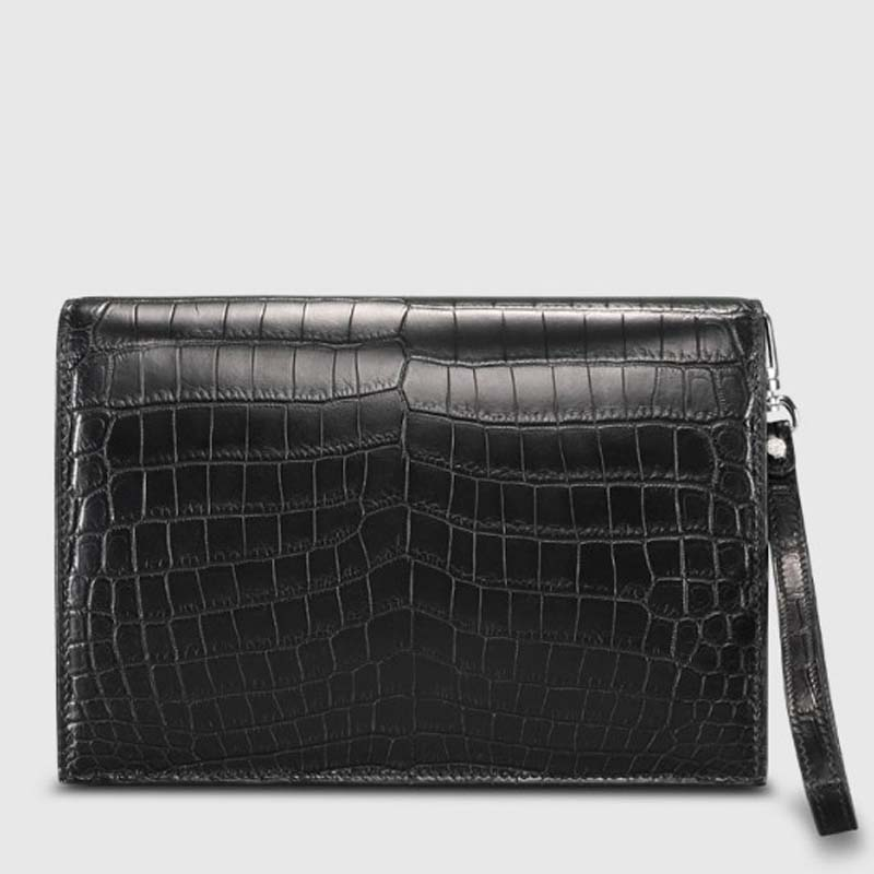 Cestbeau American style Nile crocodile bag with lid type locking clutch bag large capacity wrist leather clutch bag