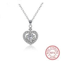 Новинка 2017 года заводская цена настоящее сердце стерлингового серебра 925 Блестящий Циркон ожерелье Сеть Femme Свадебные украшения подарок