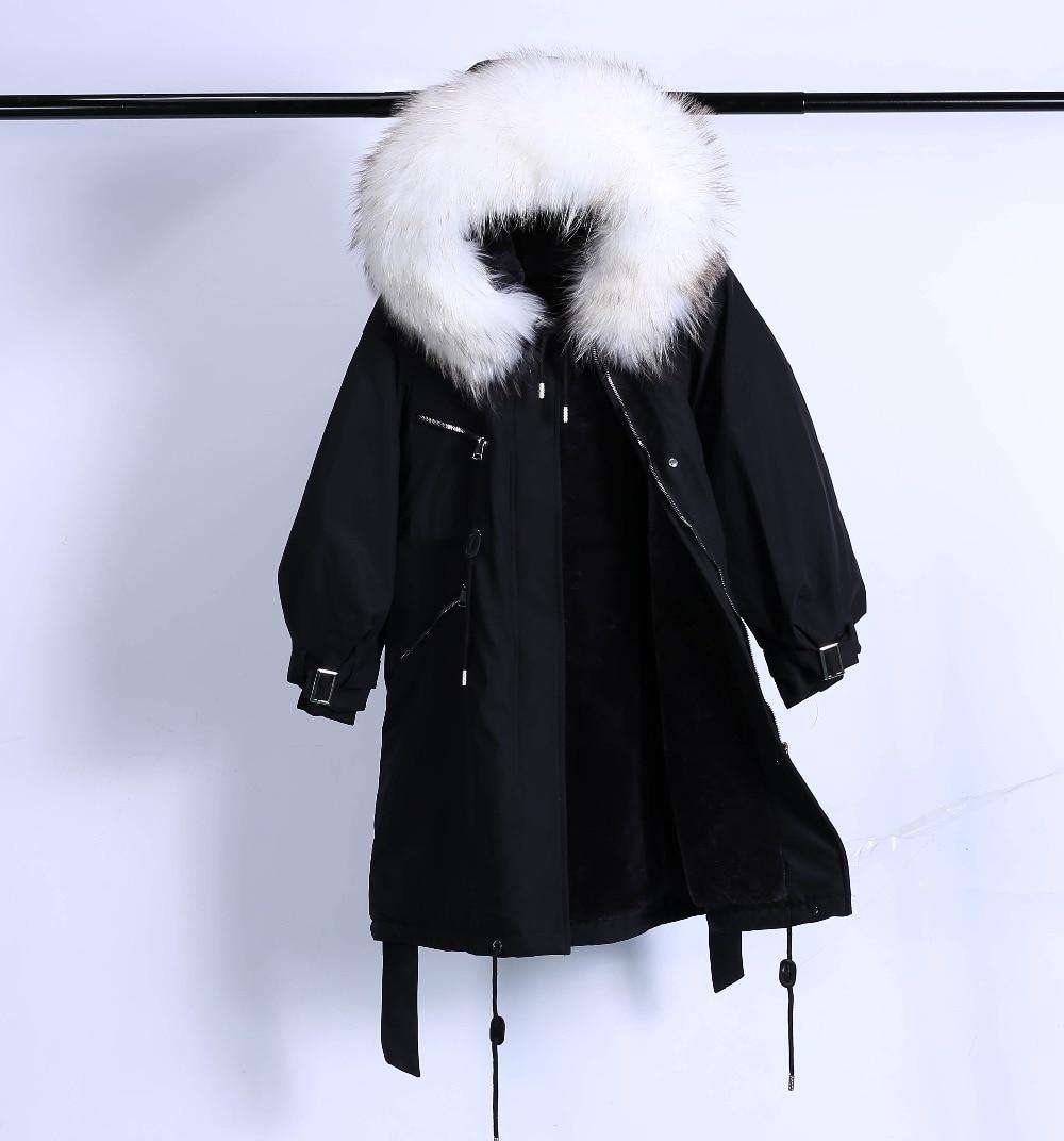 Large Natural Raccoon Fur Winter Jacket Women Hooded 19 Long Parkas For Female Thick Slim Down Winter Coat Women Waterproof 39