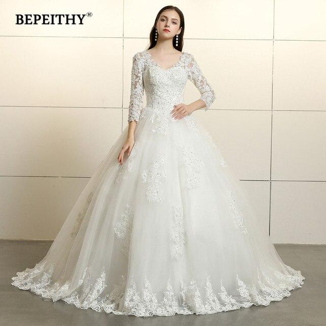 Vintage 2019 Lace Wedding Dress Long Sleeves Vestido De Novia Court Train Lace V Neck Bridal Dresses Open Back Ball Gown