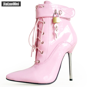 Image 1 - jialuowei 2018 Women Pointed Toe Ankle Strap Boot Lady Cross tied 12C Metal Thin High Heels Sexy Fetish Padlocks Lockable Boots