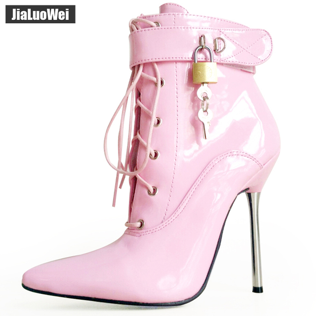jialuowei 2018 Women Pointed Toe Ankle Strap Boot Lady Cross tied 12C Metal Thin High Heels Sexy Fetish Padlocks Lockable Boots