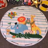 Cartoon Round Infant Crawling Mat Children Toys Storage Bag Baby Kids Floor Play Mat Drawstring Toy