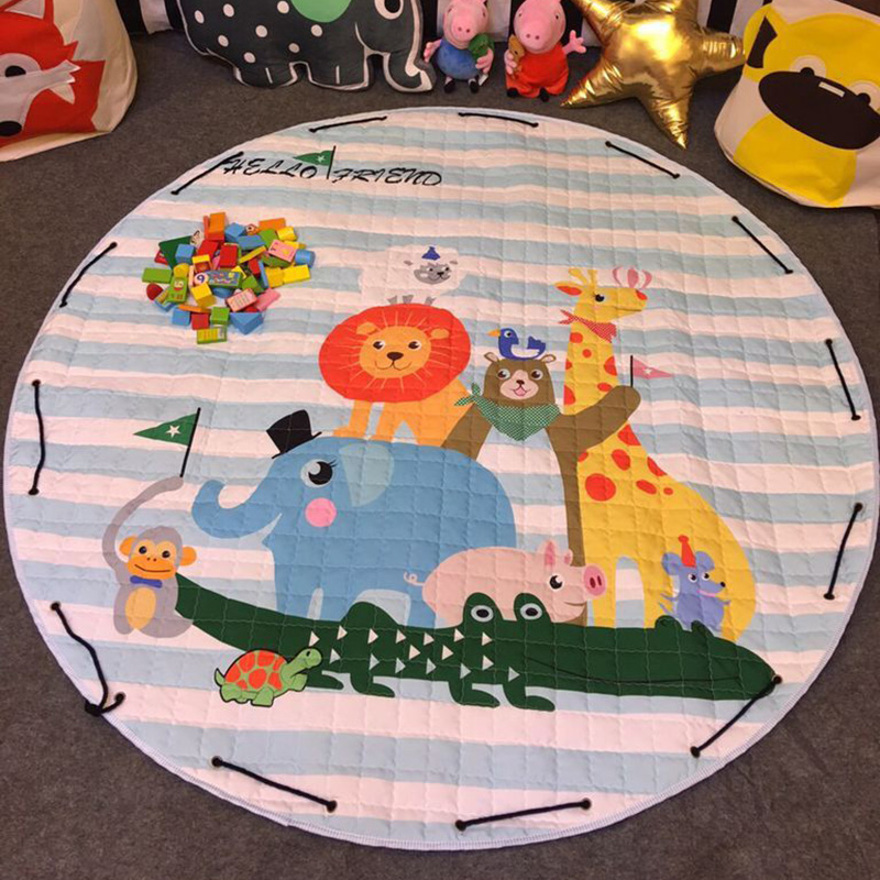 Cartoon Round Infant Crawling font b Mat b font Children Toys Storage Bag Baby Kids Floor