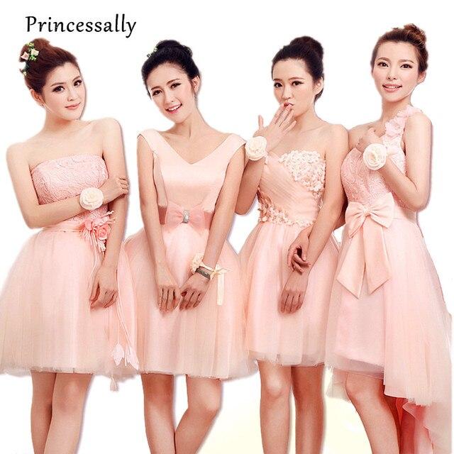 Pink Lace Tinggi Rendah Bridesmaid Dress Appliques V neck Murah Formal  Desain Pendek Prom Gaun Untuk d834b988d728