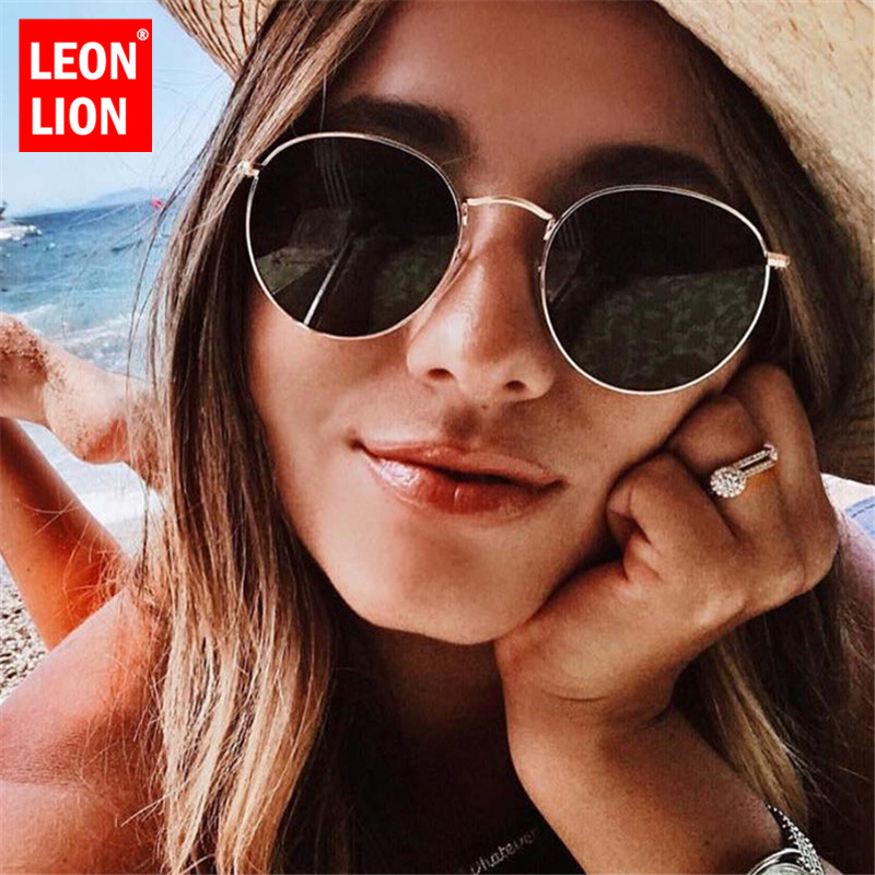 LeonLion 2019 Luxury Mirror Sunglasses Women/Men Brand Designer Glasses Lady Round Sun Glasses Street Beat Oculos De Sol Gafas