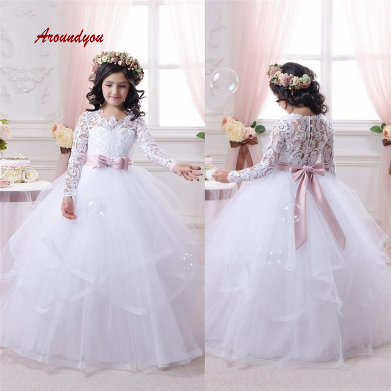 White Long Sleeve   Flower     Girl     Dress   for Party and Weddings Pageant First Holy Communion   Girls     Dress   for   Girls   Gown 2019