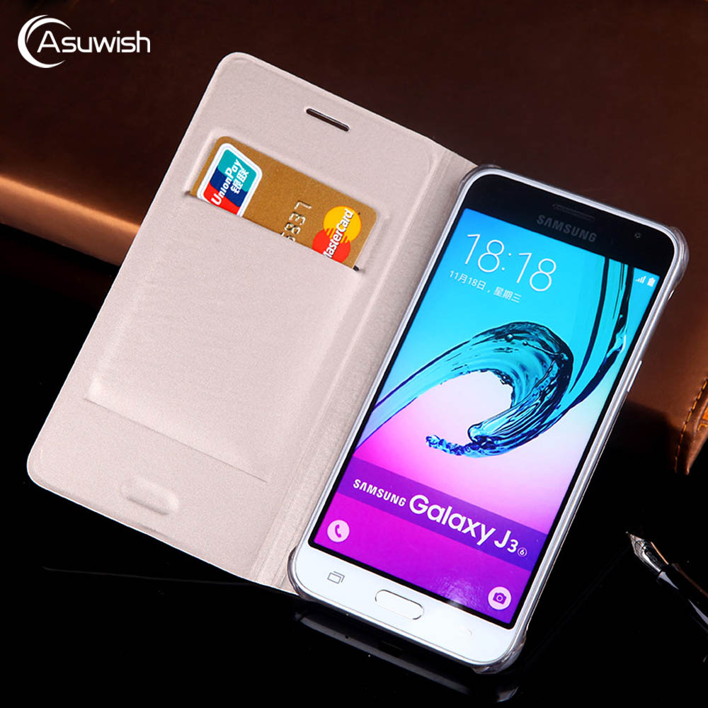 Flip Cover Wallet Leather Phone Case For Samsung Galaxy J3 2016 2015 GalaxyJ3 J 3 SM J320 J320F J320H J320FN SM-J320F SM-J320FN