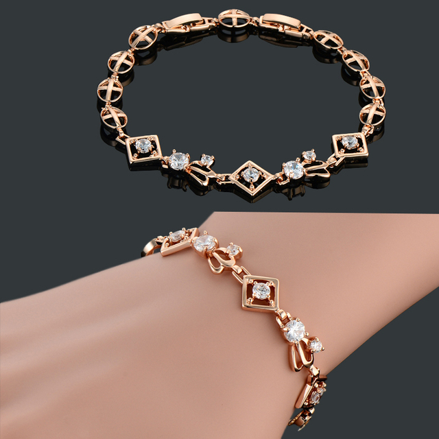 Brand New Trendy Cross and Allah Chain Charm Bracelet for Women Girls Rose Gold Plated Vintage Jewelry 2015