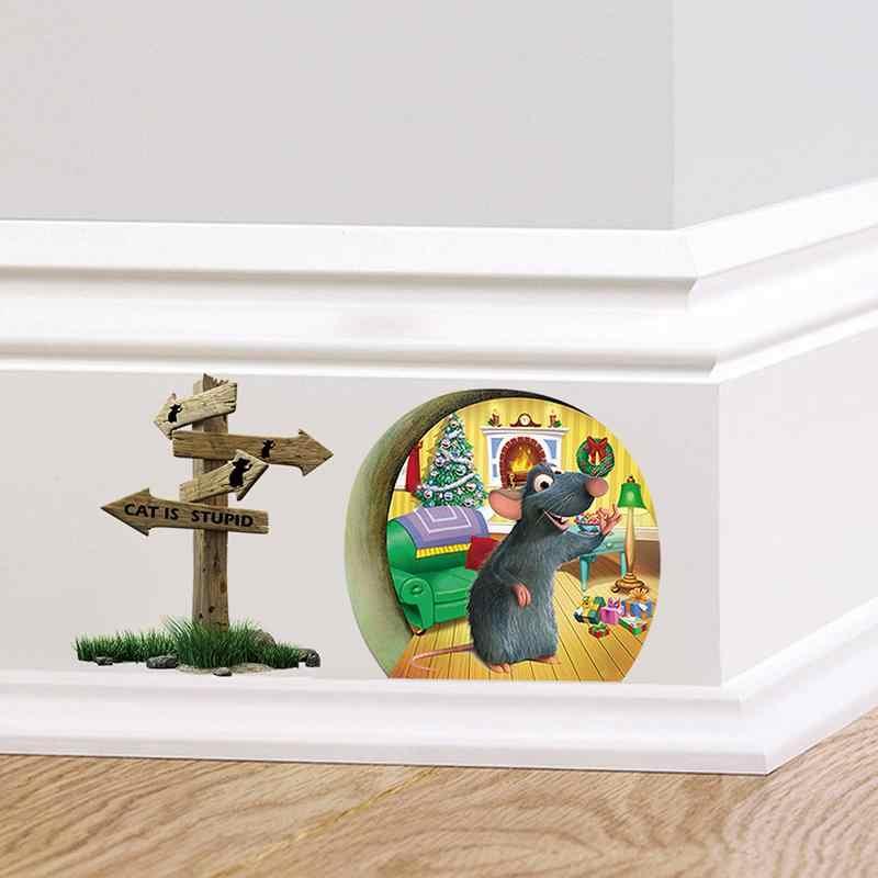 3d מצחיק עכבר חור חתול הוא טיפש קיר מדבקה לילדים חדרי Cartoon מדבקות קיר חג המולד קישוט בית דקור