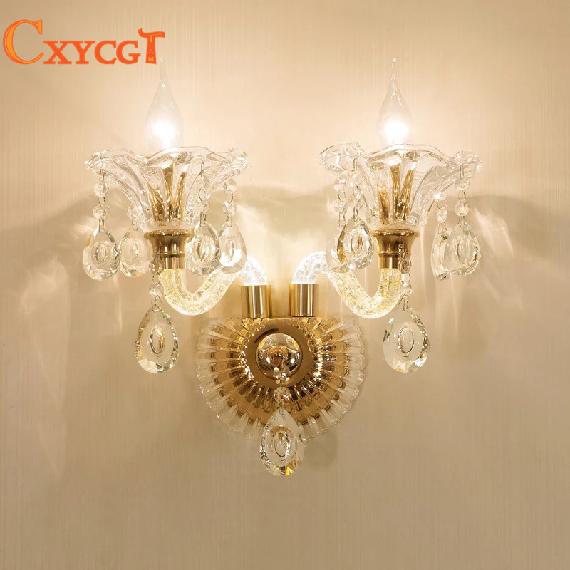 Modern Crystal Glass Lampshade Bedside Gold Wall Lamp Living Room Wall Light Bedroom Luxury Elegant Wall Sconces modern acrylic led wall lights bedroom bedside wall lamp lampara de pared bed room decoration lighting wall sconces