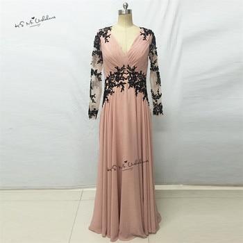 Elegant Women Pink Black Lace Prom Dress Long Chiffon Applique Floor Length Formal Evening Party Gowns Vestidos de Gala Cheap