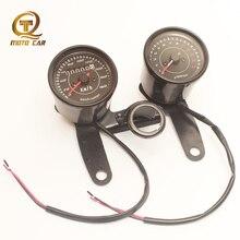 Universal Black Motorcycle Mechanic Speedometer Odometer 12V Double Tachometer Meter LED Backlight for Honda GN125 Retro Vintage
