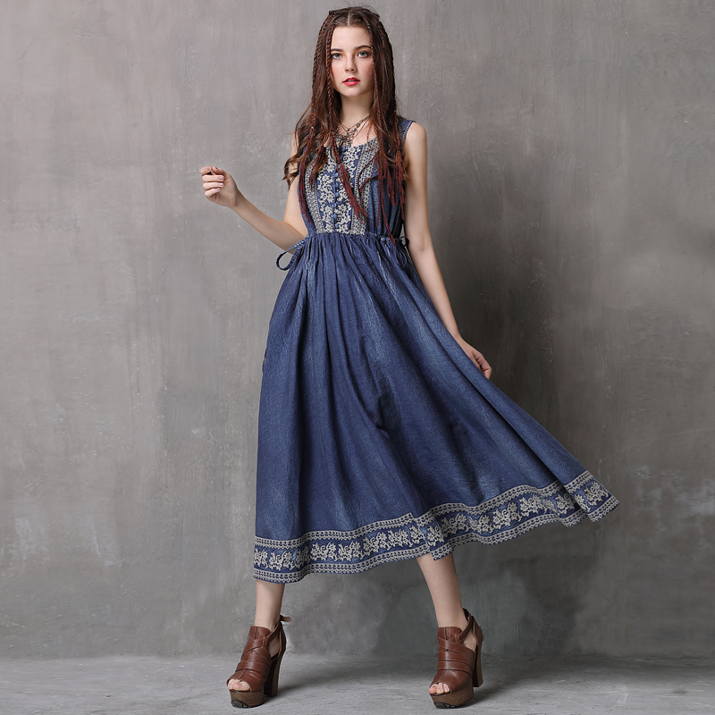 Women Dress 2018 Keer Boho Cotton Denning Embroidery Dresses O-Neck Sleeveless Vestidos A82077 Vintage Denim Vestido Feminina