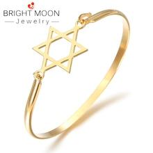 BRIGHT MOON 2019 New Rose Gold Bracelet Bangle Five Pointed Star Meniscus Zircon Bracelets Bangles for Woman Color