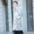 Estilo europeo de Impresión de Las Mujeres de Moda Medio-largo Abajo Chaqueta de Invierno 2017 Nuevo Cuello Convertible de Invierno Abrigos Mujer Y2219