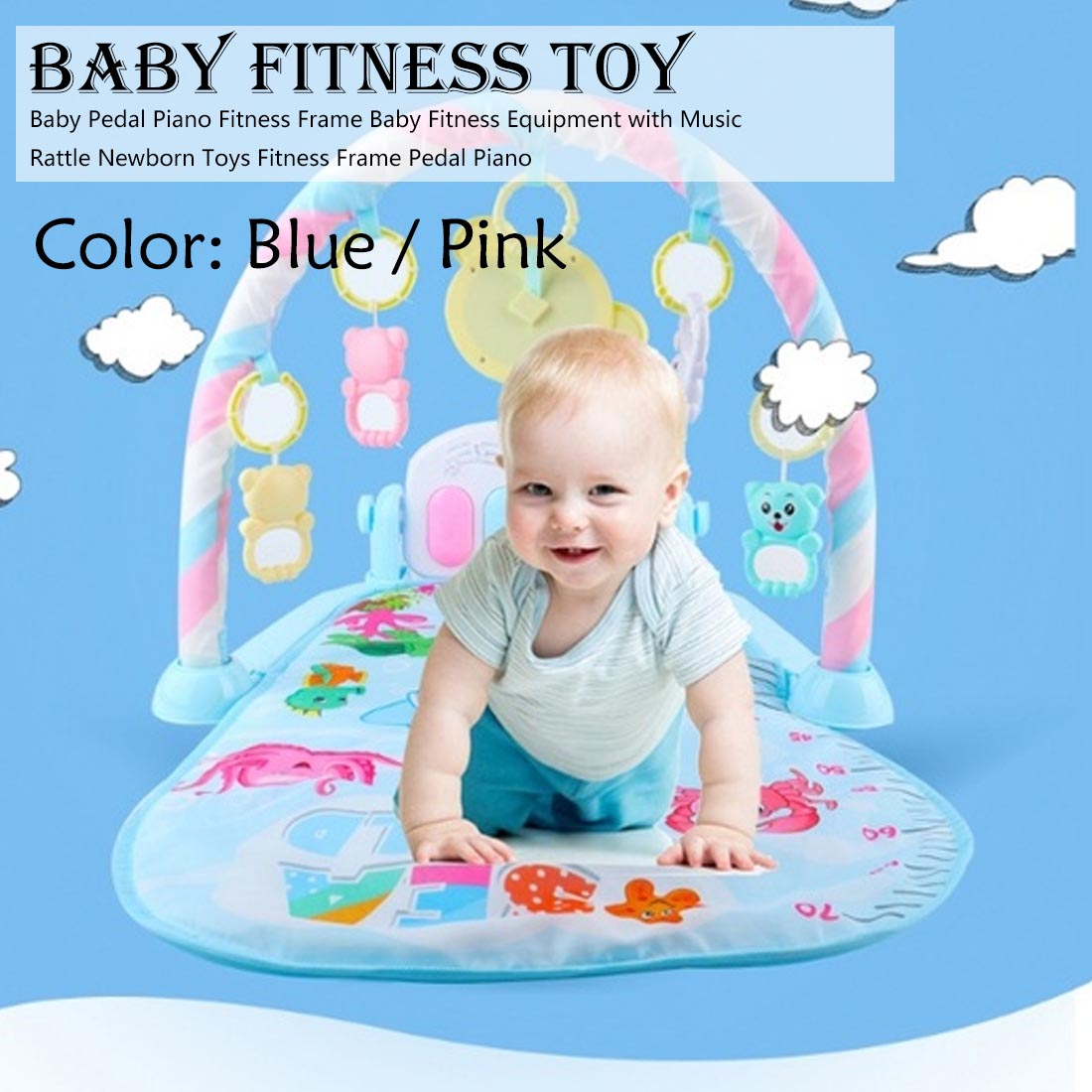 2019 Infant Cartoon Cradle Toys Baby Gilrs&Boys Fitness Frame Multifunction Foot Piano Music Game Blanket Kids Crawling Mat