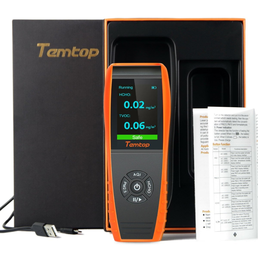 Temtop LKC-1000S+ Professional Formaldehyde Monitor Detector with HCHO/PM2.5/PM10/TVOC Accurate Testing Air Quality DetectorTemtop LKC-1000S+ Professional Formaldehyde Monitor Detector with HCHO/PM2.5/PM10/TVOC Accurate Testing Air Quality Detector