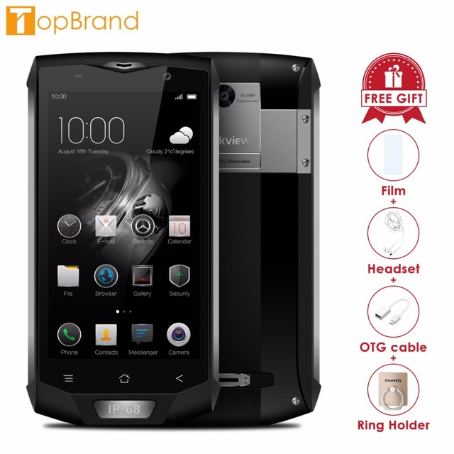 Blackview BV8000 Pro 4G Mobile Phone 5.0 inch FHD MTK6757 Octa Core Android 7.0 6GB RAM 64GB ROM 16MP Waterproof IP68 Wifi GPS