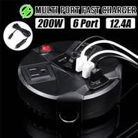 Quick Charge Charger Multi Port USB 3.1 Port Desktop 4 USB port+2 US plug port LED Display Fast Charging + Car Charging Line