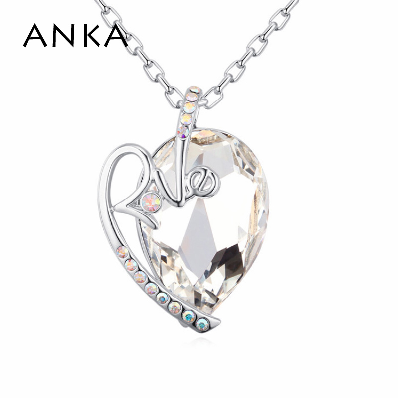 ANKA big crystal necklace promotion simple love letter necklace love necklace For Women gift Crystals from Austria #123639