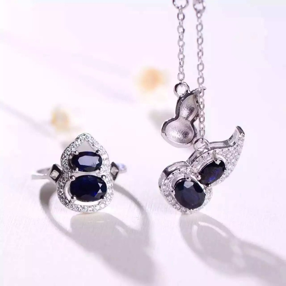 Natural blue sapphire stone wedding jewelry sets Personalized Lucky Gourd natural gemstone ring necklace earrings S925 silver