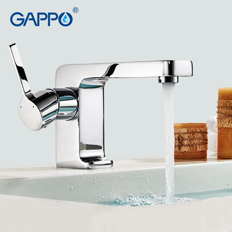 GAPPO Brass Solid Basin Faucet Square Design Single Handle Cold and Hot Water Mixer G1004