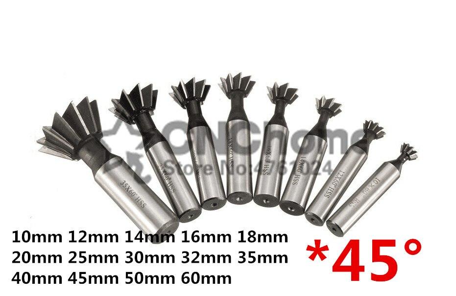 20mm*45° Degree Straight Shank HSS Dovetail Cutter End Mill 12mm Shank Durable