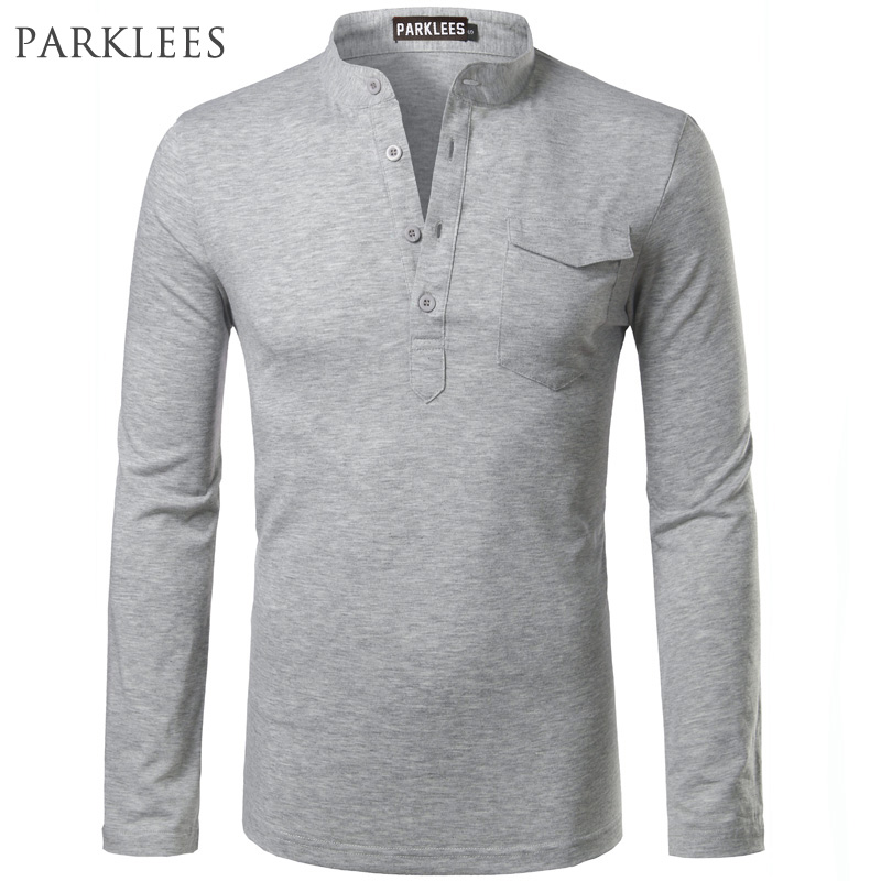 Solid color polo shirt men 2017 brand new long sleeve mens for Mens long sleeve slim fit henley shirts