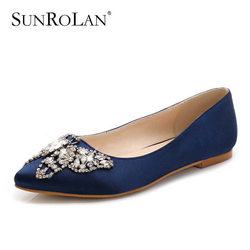 SUNROLAN Plus Size 2017 Spring Lady Shoes Split Leather Shoes Women Pointed Toe Flats With Crystal Slip-on Female Shoe DMN-676 enmayer pointed toe summer shallow flats slip on luxury brand shoes women plus size 35 46 beige black flats shoe womens