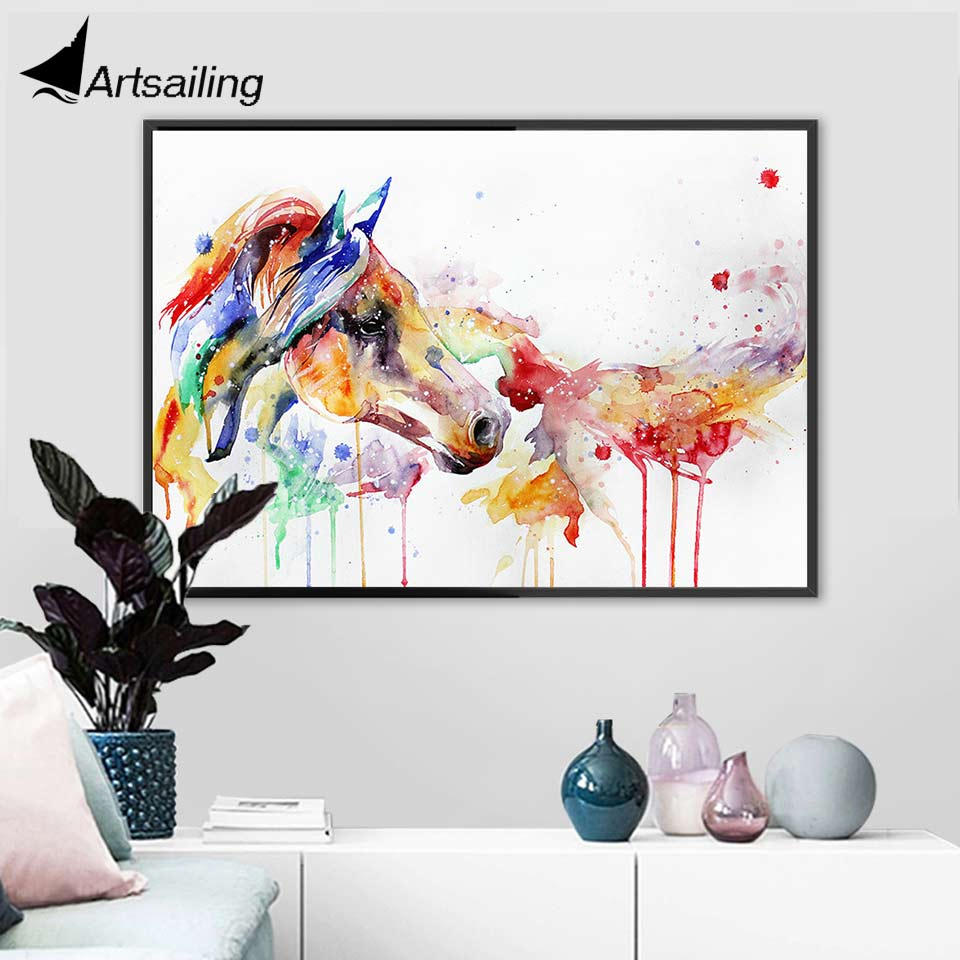 HD print  abstract Nordic canvas art watercolor colorful Horse Home decoration posters modern Painting
